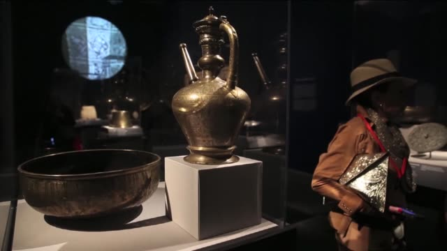 art works of seljuqs are on display as a part of the great age of sejuqs exhibition at the metropolitan museum of art in new york on april 26 2016... - circa 13th century stock videos and b-roll footage