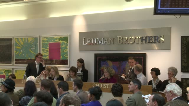 art works which once belonged to investment bank lehman brothers went under the hammer in london on wednesday. london, greater london, united kingdom. - 50 seconds or greater stock videos & royalty-free footage