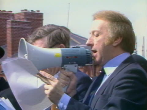 arthur scargill addresses miners on the num's decision on strike action. - strike industrial action stock videos & royalty-free footage