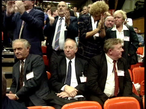 arthur scargill sits in audience of labour party conference as members of party stand around him applauding brighton; oct 95 - british labour party stock videos & royalty-free footage