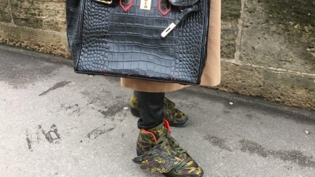 arthur van buren aka godzillionarus wears adidas shoes a max mara coat gtro pants a birkin bag and dior glasses - hermes designer label stock videos and b-roll footage
