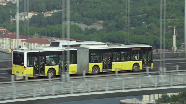 Articulated Bus On Bridge In Istanbul