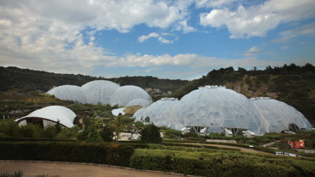 t/l artificial biomes at the eden project / st. austell, england, united kingdom - st austell stock videos & royalty-free footage