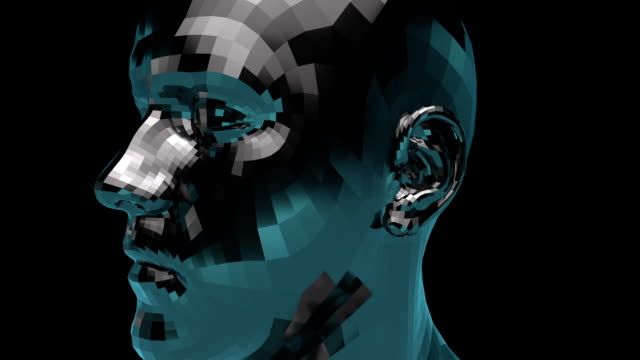 artificial intelligence 102: a 3d animated head rotates - testa video stock e b–roll