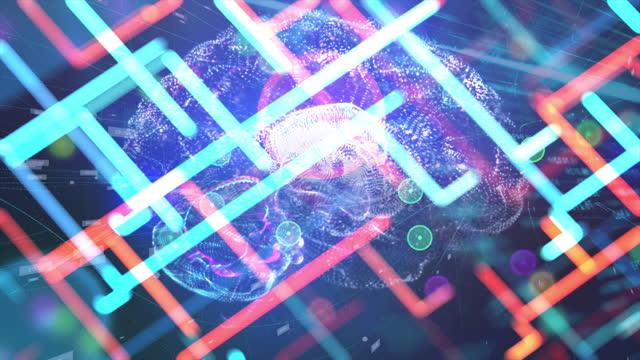 künstliche intelligenz, digitales gehirn, glitch-overlay - cerebellum stock-videos und b-roll-filmmaterial