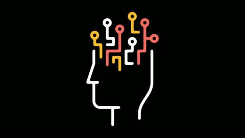 künstliche intelligenz linie symbol animation mit alpha - wisdom stock-videos und b-roll-filmmaterial