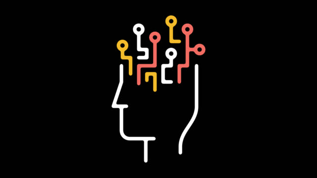 artificial intelligence line icon animation with alpha - imagination stock videos & royalty-free footage