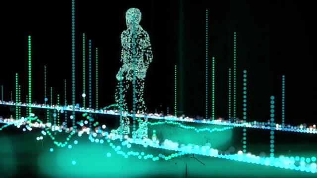 künstlicher mann zu fuß im digitalen universum mit informativen und glitch-grafiken - sicherheitssystem stock-videos und b-roll-filmmaterial