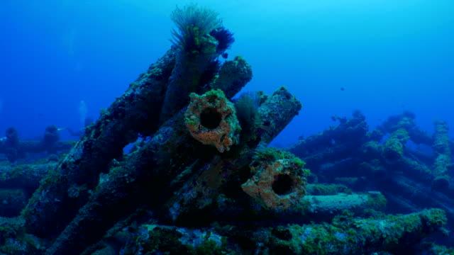 Artificial reef of telephone poles undersea