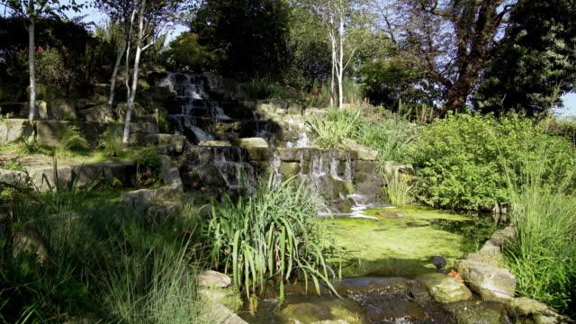 Warerfall artificiel dans la Section du jardin de Queen Mary de Londres Regent Park