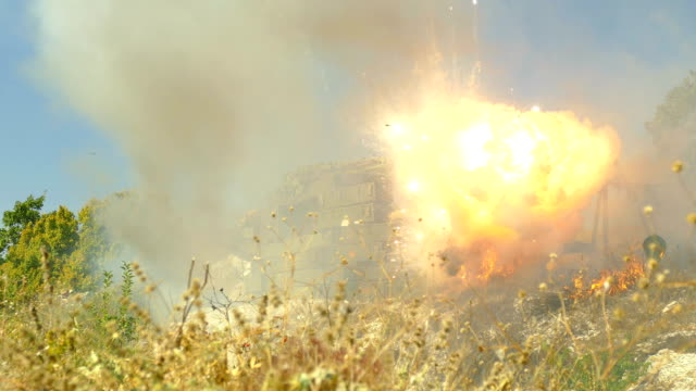 artillery attack of a barricade of a checkpoint - barracks stock videos & royalty-free footage