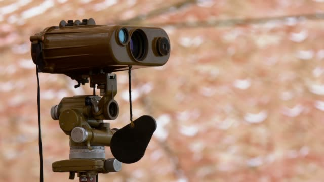 artillery binoculars at the observation post - binoculars stock videos & royalty-free footage