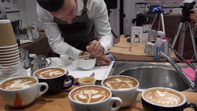 artisans from all over the world met in the italian city of rimini on sunday to present their most beautiful glazed sugar and coffee tasting works of... - gelato stock videos & royalty-free footage