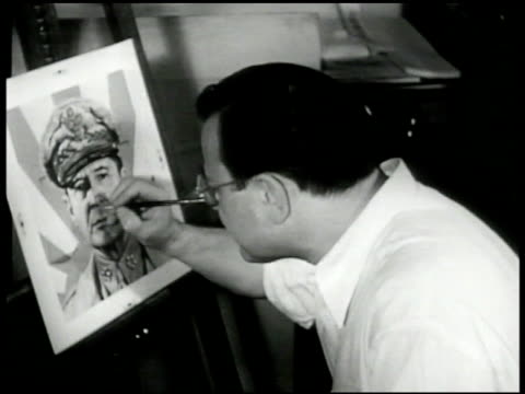 artist boris chaliapin illustrating painting for time life cover general douglas macarthur cu macarthur sketch chaliapin sketching in detail... - general macarthur stock videos & royalty-free footage