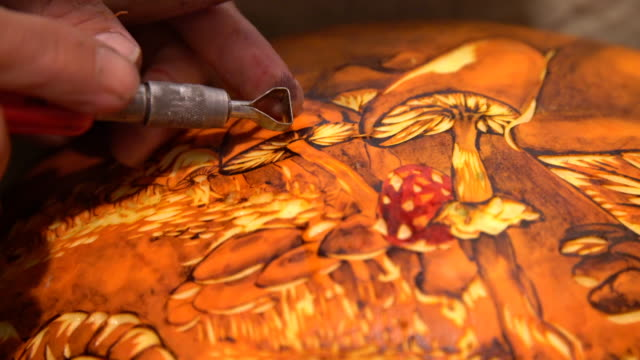 artist carving into pumpkin - artist stock videos & royalty-free footage
