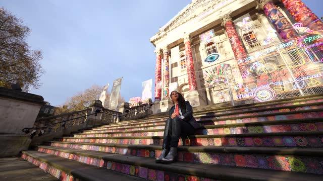 artist chila kumari singh burman stands in front of her artwork by chila kumari singh burman on display during the unveiling of the annual tate... - フォトコール点の映像素材/bロール