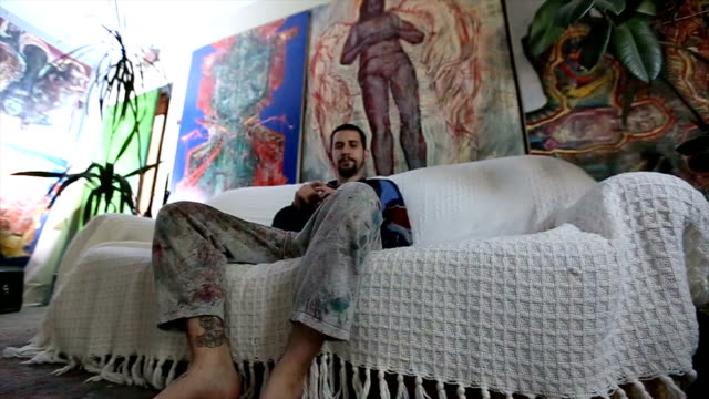 artist contemplating in studio - atelier tent stock videos and b-roll footage