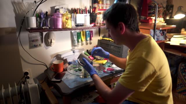 artist decorating a mug - cactus drawing stock videos & royalty-free footage