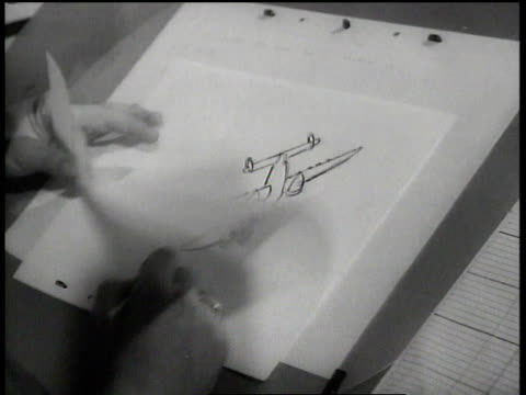 1943 cu artist drawing plane and flipping through cels at walt disney animation studios / hollywood, california, united states - disney stock videos and b-roll footage