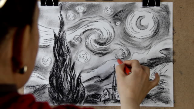 artist drawing replica of vincent van gogh's 'starry night' 1889 - 鉛筆点の映像素材/bロール