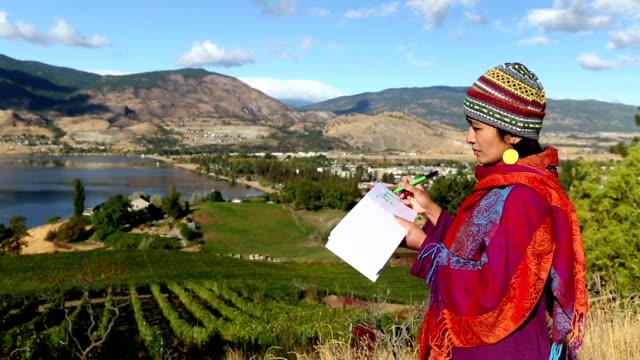 artist drawing vineyard penticton okanagan valley - sketch pad stock videos and b-roll footage