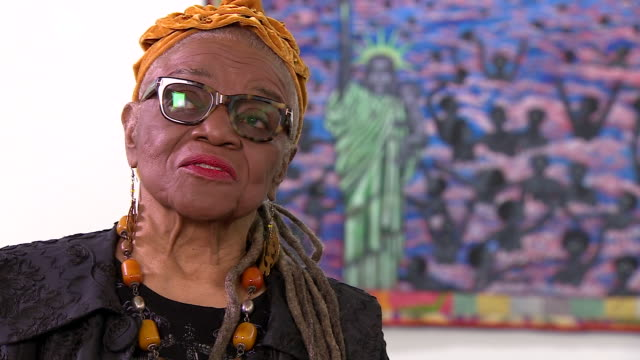 Artist Faith Ringgold saying publishers and art institutions ignored her work on racism because it wasn't happening to them