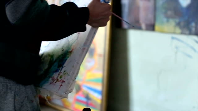 artist holding the painting - atelier tent stock videos and b-roll footage