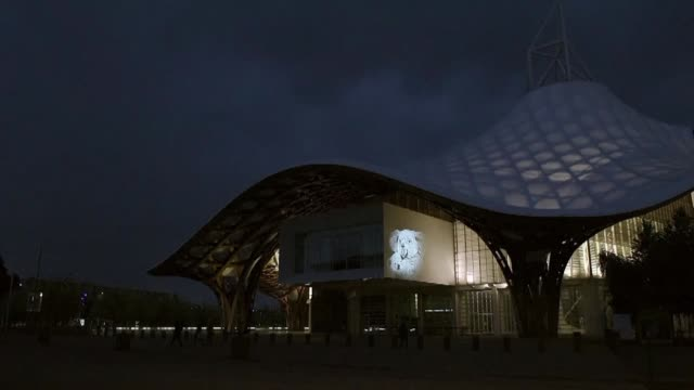 artist julien nonnon displays his animal projections on pompidou metz centre porte des allemands robert schuman congress centre in metz and other... - metz stock videos and b-roll footage