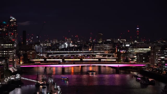 artist leo villareal and british architectural practice lifschutz davidson sandilands create the longest public art project in the world with the... - tower bridge stock videos & royalty-free footage