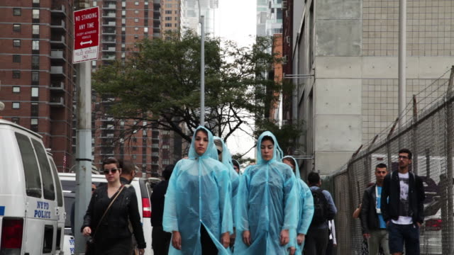Artist Mookie Tenembaum leads a silent march across the city against the Iranian regime on the day that Iranian President Rouhani addresses the UN...