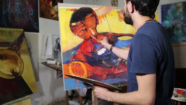 artist paint oil art on canvas - oil paint stock videos & royalty-free footage