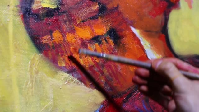 artist paint oil art on canvas - oil paint stock videos and b-roll footage