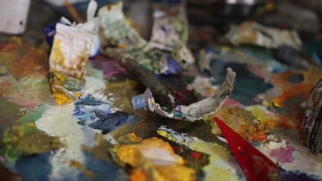artist paint oil art on canvas - imperfection stock videos & royalty-free footage