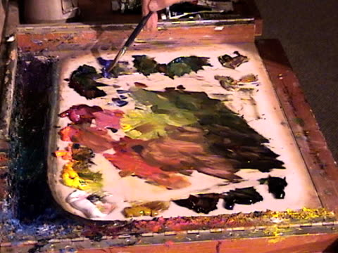 artist palette - paintbrush stock videos & royalty-free footage