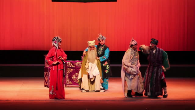 MS Artist performing qinqiang opera in theater, qinqiang is representative folk opera of northwest china AUDIO / xi'an, shaanxi, china