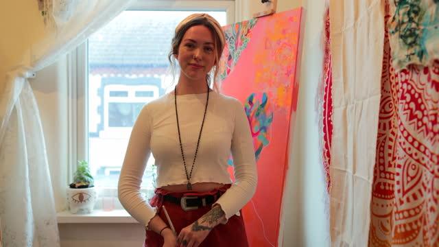 artist proud of her work - hobbies stock videos & royalty-free footage