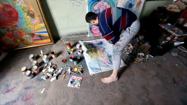 artist working on painting in studio - atelier tent stock videos and b-roll footage