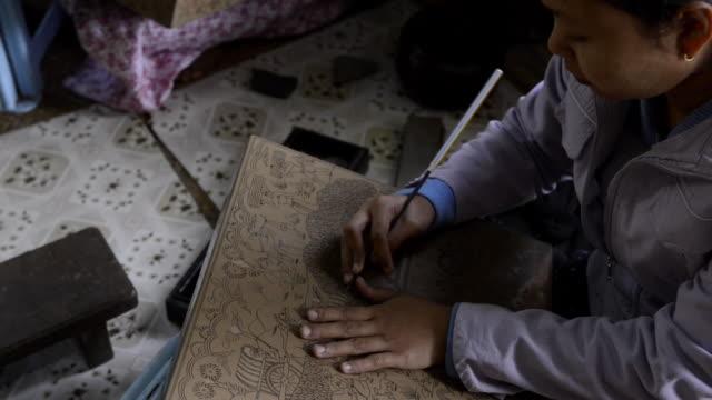 artistic craftwork, in bagan, myanmar - bagan stock videos & royalty-free footage