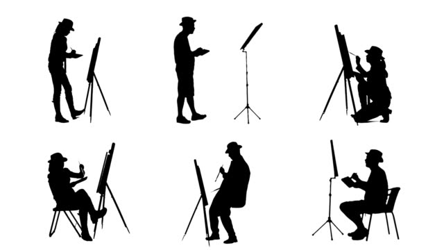 artistic painters silhouettes - camera photographic equipment stock videos & royalty-free footage