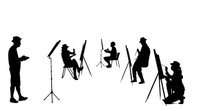 vídeos de stock e filmes b-roll de artístico silhuetas de pintores de norwich - modelo objeto
