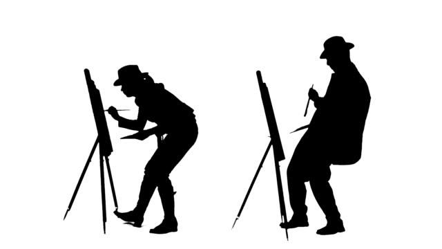 vídeos y material grabado en eventos de stock de obras de pintores siluetas - acrílico