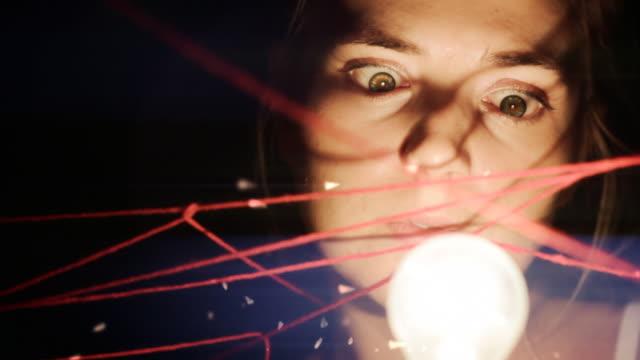 künstlerisch stilisiert frauen mit großen augen - frau gefesselt stock-videos und b-roll-filmmaterial