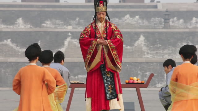 Artists dressed in tang dynasty costumes and showing traditional ceremony during Chinese spring festival AUDIO / xi'an, shaanxi, china