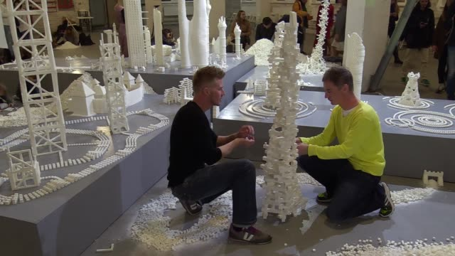 artists from northern ireland brendan jamison and mark revels during the opening ceremony of interactive sculpture installation from sugar cubes... - sculpture stock videos & royalty-free footage