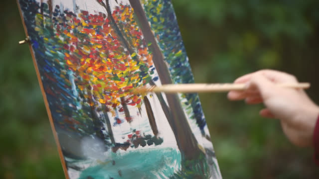 artist's hand painting - impressionism stock videos & royalty-free footage