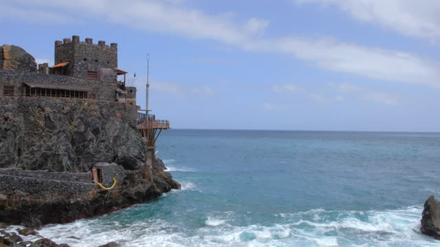"artists hangout and bar ""castillo del mar"", former port for the transport of bananas - canary islands la gomera in the province of santa cruz de tenerife - spain - atlantic islands stock videos & royalty-free footage"