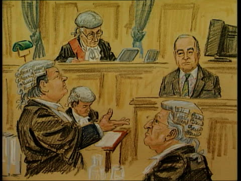Artist's impression of Al Fayed in court as V/O actor's voice relating Al Fayed's words in court SOT I have right to say what I believe/ I have lot...