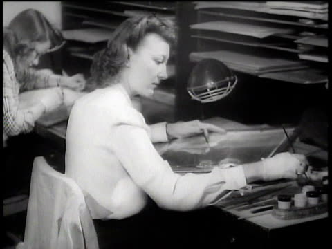 1943 ms artists inking and drawing at walt disney animation studios / hollywood, california, united states - animator stock videos & royalty-free footage