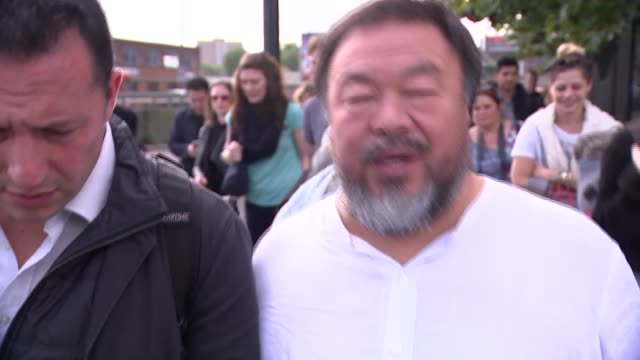 Artists lead walk across London to highlight plight of refugees Ai Weiwei interview SOT trying to remind politicians to be more creative /...