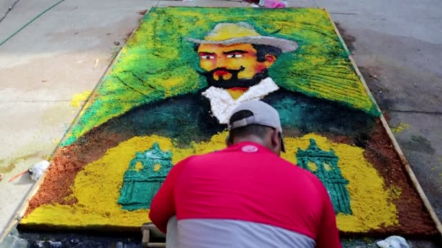 artists made giant sawdust carpet paintings on the street in leon city thursday showing the different stages in the life of modernismo nicaraguan... - nicaragua stock videos & royalty-free footage